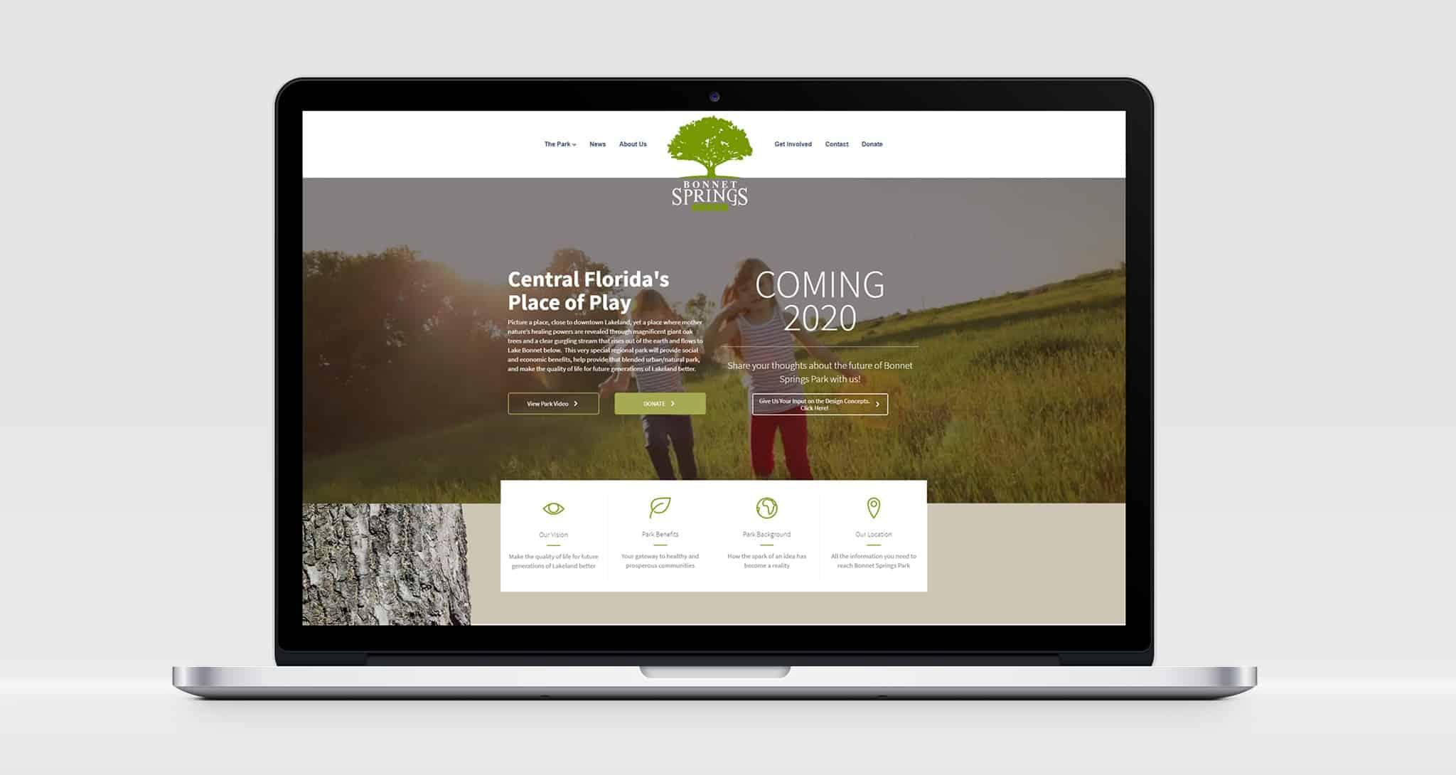 Bonnet Springs Park Website - Tinsley Creative