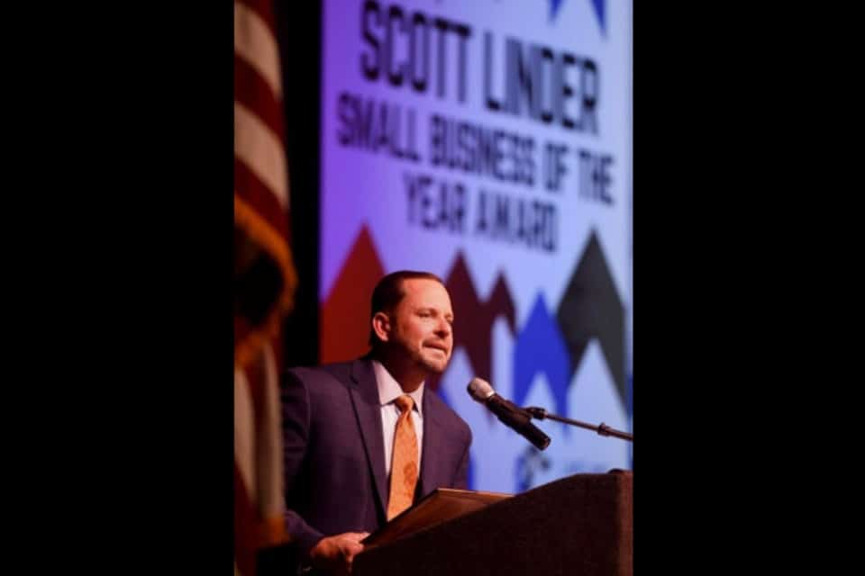 Donovan at accepting small business of the year award